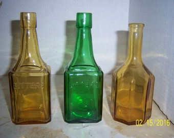 Repro Lot of 3 Bitters 5 1/2 to 6 1/8 inch yellow green bottles square octogon base Wheaton, NJ