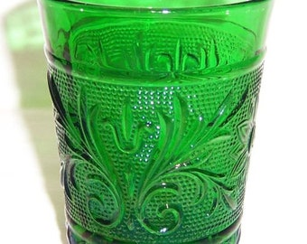 Anchor Hocking Forest Green SANDWICH WATER TUMBLER or Glass