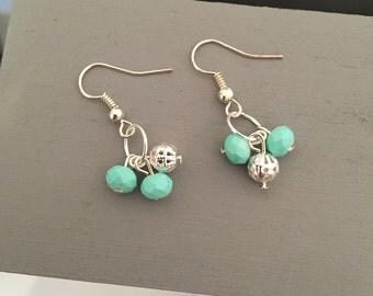 Green Dangly Earrings - Drop Earrings, Green Earrings, Silver Earrings, Bead Earrings, Green Jewellery, Jewellery, Handmade UK, SLJewellery