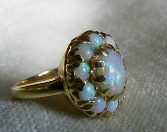 Opal Ring 14K Gold Semi Black Opal Engagement Antique Australian Blue Opal Halo Ring October Birthday