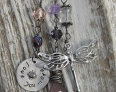Love you more pink dragonfly necklace with opals