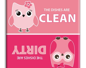 Guajolote Prints Clean Dirty Dishwasher Magnet 2.5 x 2.5 inches Pink Owls