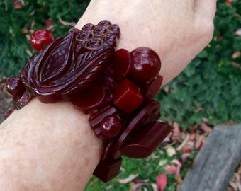 Chunky *MERLOT* Burgundy Wine Ox Blood +All Tested+ Vtg Bakelite Button Bracelet ONE-of-a-KIND