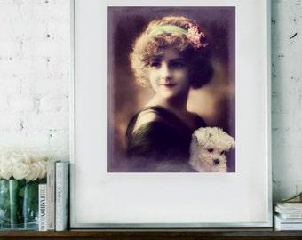 Vintage image altered art,Charming Girl,Little Dog,vintage art,vintage photo,Image Instant Download.