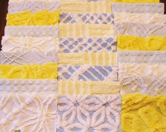 """36 Vintage Chenille Bedspread 6"""" Quilt Squares Fabric Kit Blue Yellow White"""
