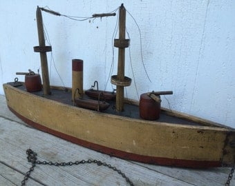 Antique Folk Art Pull Toy Steamship Boat Ocean Liner