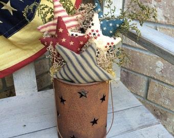 READY to Ship Primitive Rusty Tin Star Bucket With Americana Stars