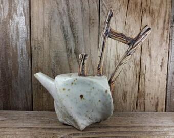 ChingWenArts handmade Stoneware Teapot Vase Pot, E011