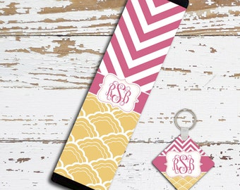 Pink monogram seat belt cover, Padded neoprene washable, Raspberry chevron gold shell, Personalized keychain, Auto decor for women (1297)