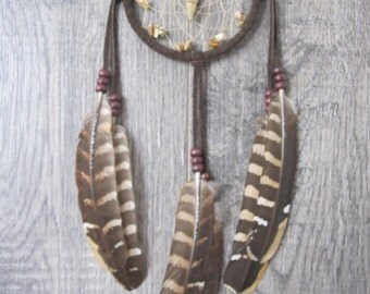 Dream Catcher Chocolate Brown Suede with Reeves Venery Pheasant Feathers