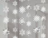 Snowflake Hanging decorations, winter wonderland, frozen fever party, one year birthday party, Christmas decor, silver snowflakes, hanging