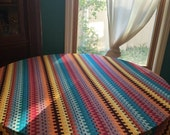 Christmas in July Awesome Vintage Zig Zag Bright Tablecloth