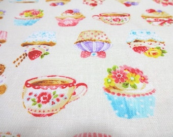 Japanese Fabric Kawaii Cupcake White Fat Quarter