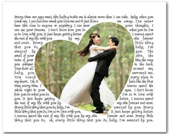 Personalized Song Lyrics with Heart Shaped Photo PRINT - Any Song Lyrics - Wedding Song, Vows - Wedding, Anniversary Gift - Gift for couple