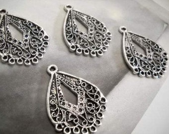 Chandelier Earring Findings Components Antiqued Silver Filigree Wholesale Chandelier 24 pieces