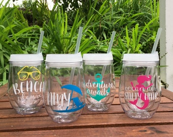 Personalized Wine Tumblers, Beach Theme Tumblers, Pool party cups, Outdoor Cups, Bachelorette Party Cups, Stemless Wine Cup, Bev2Go