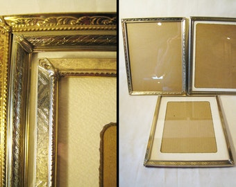 CLEARANCE SALE Lot of 3 / 8 x 10 Gold Tone Metal Picture Frames - Mid Century / Hollywood Regency / Shabby Chic / Paris Apartment Desk Frame