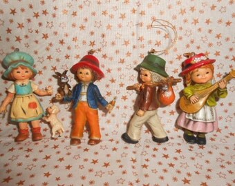 Four Old World Children Christmas Ornaments