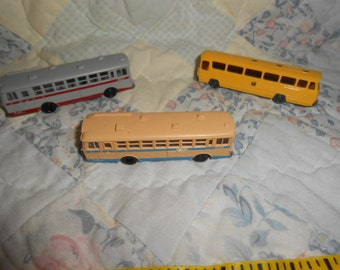 Three Mini Plastic Tornix Buses-Vintage