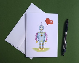 Robot Greeting Card, Blank Anniversary Card, Newlywed Card, Romantic Wishes, Wedding Card, Gift for Him, Gift for Her, Gifts for Little Boys