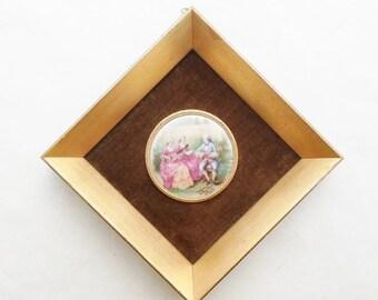 ON SALE Vintage Fragonard Style Porcelain Hand Painted Framed Tile, Shabby Chic, Hollywood Regency, Art, Wall Hanging, M. Langboek, Amsterda