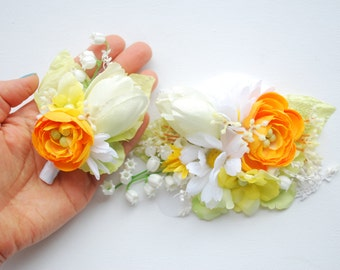 Orange Yellow White Bridal Comb Sash, Orange Yellow Grooms Boutonniere,  Lily of the Valley Comb, Weddings Bridal Hair Accessories, Prom
