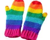 Rainbow Mittens - Multicoloured Unisex Crochet Mittens - Brightly Coloured Striped Womens Winter Mittens - Vegan ROYGBIV Kawaii Gloves