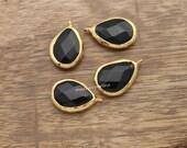 black onyx teardrop charm faceted drop pendant genuine pear 22mm gemstone gold plated bezel charm aqua blue