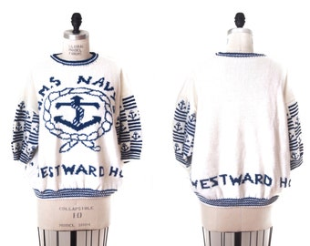 vintage 80s NAUTICAL short sleeve knit sweater