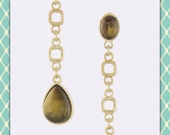 Tigers Eye and Gold Earrings