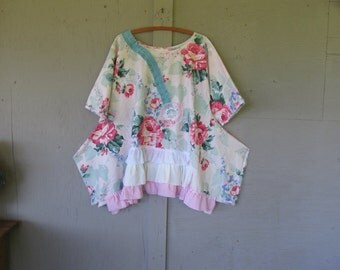 upcycled Romantic tunic dress summer clothing Eco top Artsy shirt French shabby chic Bohemian country top X Large l X LillieNoraDryGoods