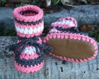Coral, Grey and Cream Baby Toddler Child Crochet SHEEPSKIN Booties and Crochet Sheepskin Slippers with Leather Sole and Sheepskin Shearling