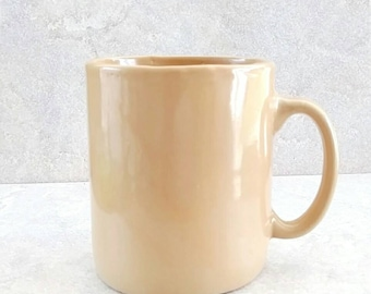 Antique Yellow Ware Tankard Mustard Brown Stoneware Cup Ear Handle Mug 20 Ounces