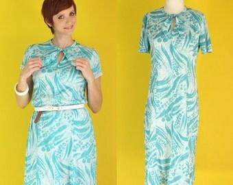 Vintage 70s Secretary Dress - Tie Neck Dress - Teal Dress - Keyhole Dress - Zip Front Dress - Floral Animal Print Dress - Size Medium Large