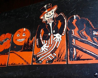 Vintage Halloween Scarecrow Man in the Moon Black Cat Bats 1950s Old Beistle Halloween Die Cuts Autumn Retro Decor Fall Display Collectible