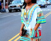 Unisex Dashiki White African Shirt Dress - Kings and Queens