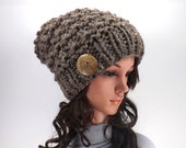 ON SALE Textured Knitted Chunky Buttoned Slouchy Hat Beanie Toque // The Barletta // in Barley