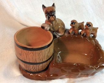 Boxer Dog Ashtray with Pups Barrel for Cigarettes