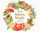Autumn Wreath - watercolor illustration - digital image - PNG file
