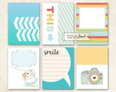 Journal Cards - Smile - Project Life - digital collage sheet - set of 6 cards - Printable Download