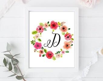 D - Letter Monogram Art - 8 x 10 inch - Art Calligraphy Poster