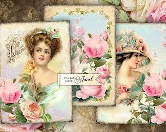 Vintage Cards - digital collage sheet - set of 6 - Printable Download