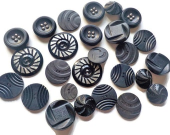 Vintage 1940s  Black Decorative Coat Buttons.... LOT 2