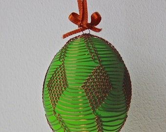 Handmade Copper Wire Wrapped Easter Eggs - Pysanky - Bright Green