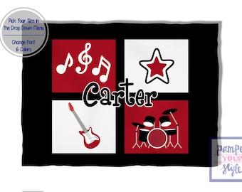 Musical Baby Blanket - Musical Blanket for Baby or Child - Guitar Blanket - Drums Baby Blanket - Musical Note