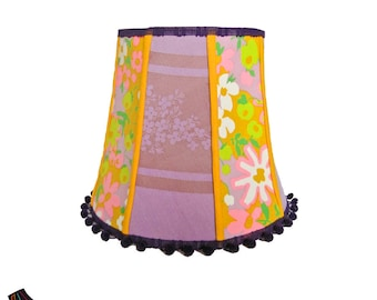 Colorful Lamp Shade with Pompoms: Colorful Lamp Shades, Purple Lamp Shades, Designer Lamp Shades, Boho Lamp Shade, Girls Lamp Shades