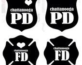 Custom Police Cop Fire Fighter Badge Vinyl Decal