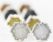 40% OFF SALE Hie earrings - silver druzy hexagon stud earrings, silver druzy post earrings, silver stud earrings, post earrings, hexagon, ha
