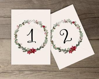 Winter Wedding Table Numbers  • Wreath • 'Tis the Season to be Married • Custom Wedding • DIY printable