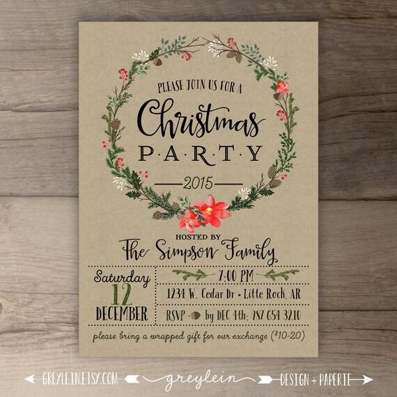 Christmas Party Invitations Wreath Kraft Custom Holiday